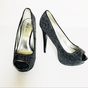 🔺Shi by Journeys Sparkly Peep Toe Pumps Sz MED🔻